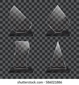 Set of realistic transparent glass trophy awards standing on black base and isolated on gradient background. Different shapes provided. Rectangle, triangle, flag, polygon. Vector illustration.