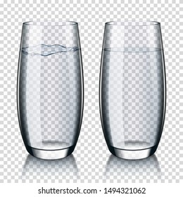 Set of realistic transparent glass of water, isolated.