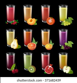 Set realistic transparent glasses of juice on a dark background. Big set of colorful realistic illustration. Drinks with fruit halves.