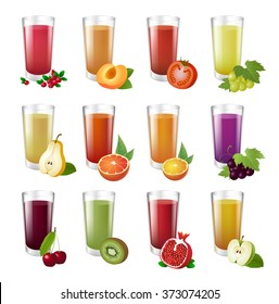 Set realistic transparent glasses of juice. Big collection of colorful illustration. Drinks with fruit halves. Eps 10.