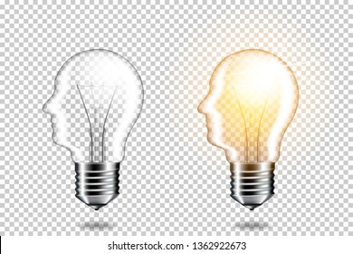 Set of realistic transparent light bulb with head, isolated.