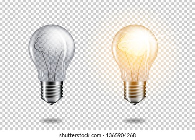 Set of realistic transparent light bulb with brain, isolated.