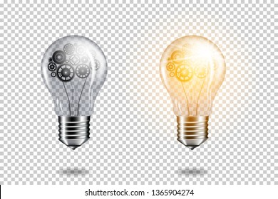 Set of realistic transparent light bulb with cogwheel brain, isolated.
