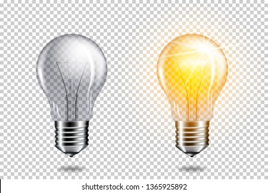 Set of realistic transparent light bulbs, isolated.