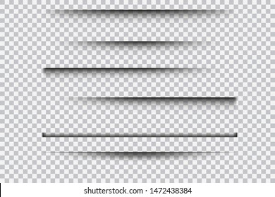 Set of realistic transparent shadow effects isolated on transparent background, vector illustration