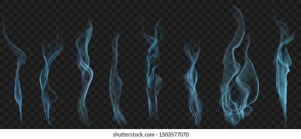 Set of realistic transparent smoke or steam in light blue colors, for use on dark background. Transparency only in vector format