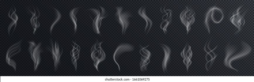 Set of realistic transparent smoke or steam isolated in white and gray colors, fog and mist effect. Collection of white smoke steam, waves from tea, coffee, hot food, cigarettes - stock vector