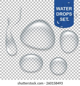 Set of realistic transparent water drops. Vector EPS10 illustration.