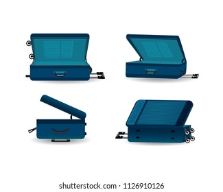 Set of realistic travel suitcases, cases, bags for luggage, on wheels. Plastic suitcase for traveling, resting, traveling on business trip, vacation. Open view to right and left. Vector illustration.