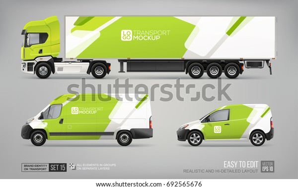 Set of realistic Truck Trailer, Delivery Van, Freight Car - vector mockup template. Green and white abstract graphic elements for Car Branding and Corporate identity. Transport mockup