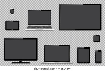 Set of realistic TV, computer monitor, laptops, tablet, mobile phone, smart watch and GPS navigation system device with blank empty screen isolated on transparent background
