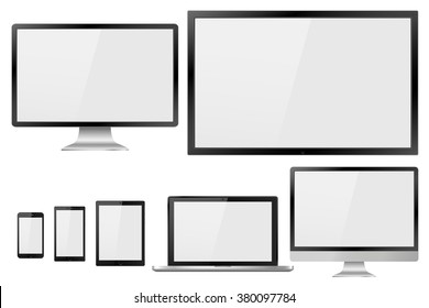 Set of realistic TV, lcd, led, computer monitor, laptop, tablet and mobile phone with empty white screen. Various modern electronic gadget isolated on white background. Vector illustration  EPS10