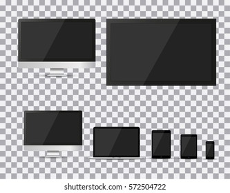 Set of realistic TV, lcd, led, computer monitor, laptop, tablet and mobile phone with empty white screen. Various modern electronic gadget on isolate background. Vector illustration EPS10