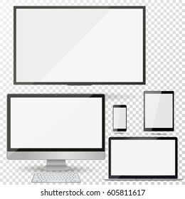 Set of realistic TV, lcd, led, computer monitor, laptop, tablet and mobile phone with empty white screen. Various modern electronic gadget on isolate background. Vector illustration