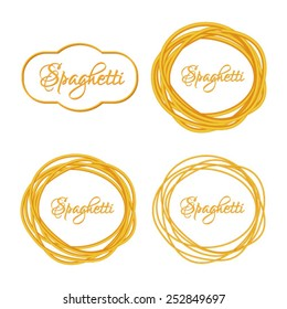 Set of Realistic Twisted Spaghetti Pasta Circle Frame, logo emblem vector illustration