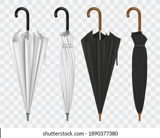 set of realistic umbrella in various type or mock up black and white umbrella closeup or outdoor parasol protection weather waterproof material concept. eps 10 vector
