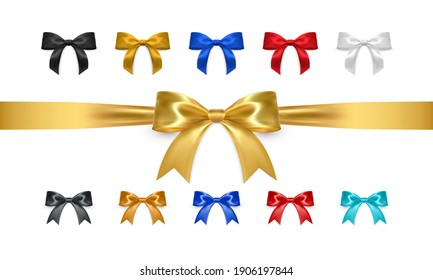 Set of realistic vector bows isolated on white background. Golden, white, black, red, blue gift bows for cards, presentation, valentine's day, christmas and birthday illustrations. Top view.