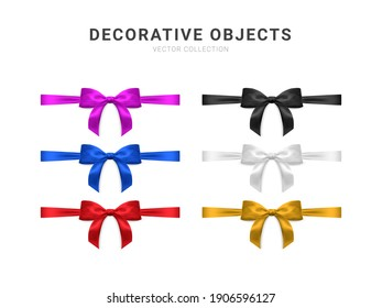 Set of realistic vector bows isolated on white background. Golden, black, purple, red, blue gift bows for cards, presentation, valentine's day, christmas and birthday illustrations. Top view.