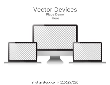 Set realistic vector devices on white background