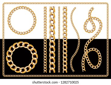 Set of realistic vector golden chains. Vector illustration of gold links isolated on white background - Vektör