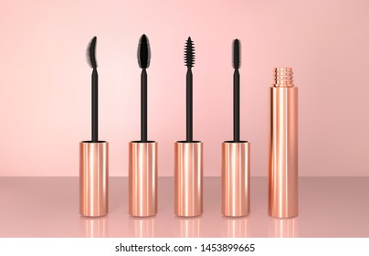 Set of realistic vector golden Mascara Bottles. Brush and mascara tube. Black wand and golden tube on rose-gold background. Fashionable cosmetics Makeup for Eyes.
