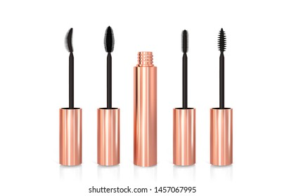 Set of realistic vector golden Mascara Bottles. Brush and mascara tube. Black wand and golden tube isolated on white background. Fashionable cosmetics Makeup for Eyes.
