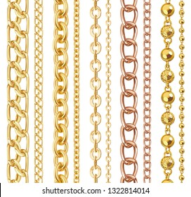 Set of realistic vector golden shiny chains. Vector illustration of gold metal necklace isolated on white background
