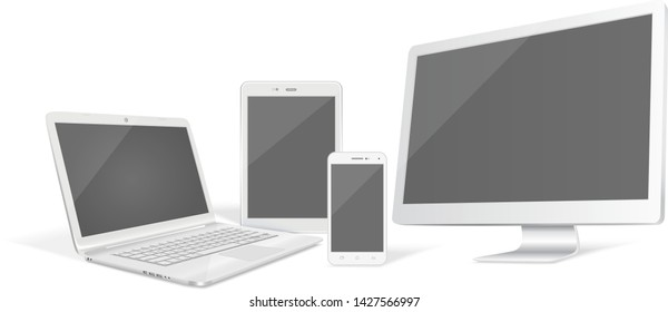 Set of realistic vector graphic computer monitor, laptop, tablet and phone on a white background.