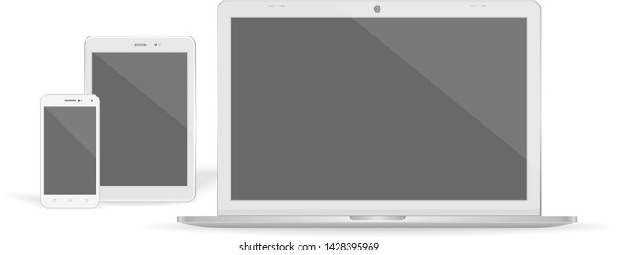 Set of realistic vector graphic laptop, tablet and phone on a white background.