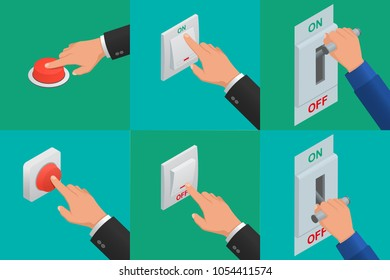 Set of realistic vector hands pressing buttons. Isometric icon of electric knife switch in the on/off position. Toggle switch. High voltage. Electrical circuit is enabled. Power station.