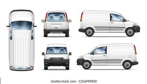Set of realistic vector illustrations of mini van from top, side, front and back view.
