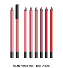 Set of realistic vector lip liners. Collection of colorful cosmetics pencils with cap in pink, red, peach, beige, berry colors isolated on white background. Lip contour makeup tool.