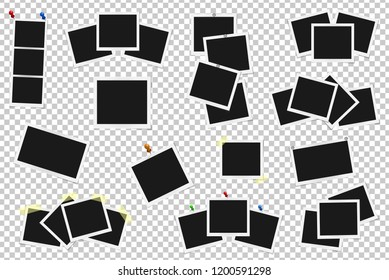 Set of realistic vector photo frames on sticky tape, pins and rivets. Template photo design. Vector illustration