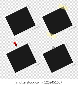 Set of realistic vector Polaroid photo frames on sticky tape, pins and rivets. Template photo design, Vector illustration