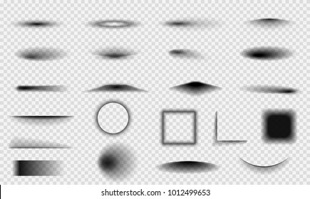 Set of realistic vector shadows on transparent background. Elements different forms.
