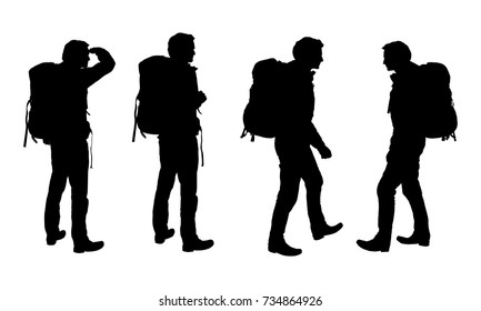 Set of realistic vector silhouettes of tourist men with backpack isolated on white background
