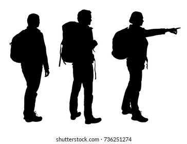 Set of realistic vector silhouettes of tourist man and woman with backpack isolated on white background
