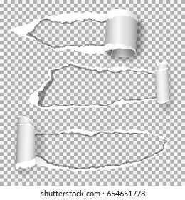 Set of  realistic vector torn paper (hole in the paper) with ripped edges with space for your text.