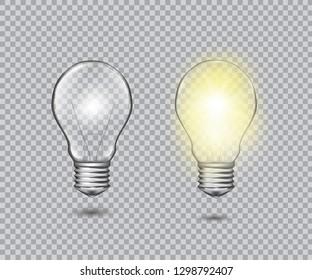 Set of realistic vector transparent light bulb. Light effect illustration.