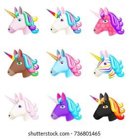 Set of Realistic Vector Unicorn Icons Isolated on White. Head Portrait Horse Sticker, Patch Badge, Emoji. Cute Magic Cartoon Fantasy Cute Animal. Rainbow Hair. Dream Symbol. Design for kids