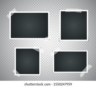 Set of realistic vintage photo frame with adhesive tape. Photorealistic Mockups. Retro Template for your picture photos. illustration - Vector