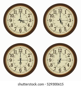 Set of realistic wall clocks, Old clock vintage style with the times set at every hour.