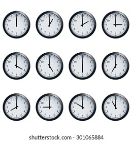 Set of realistic wall clocks, with the times set at every hour.