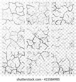 Set of realistic wall cracks isolated on white transparent background. Vector illustration
