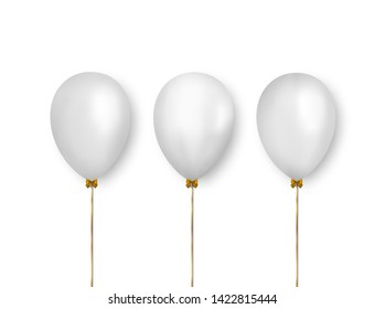 Set of realistic white balloons. Ready balloons for decorate holiday greeting cards, banners and more.