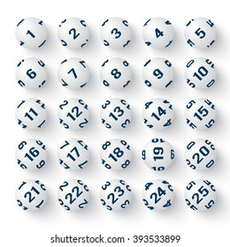 Set of realistic white bingo balls. Vector illustrations