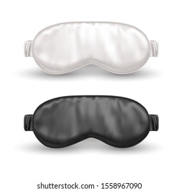 Set of realistic white and black eye mask for sleep or night blindfold. Sleeping accessory for resting and relaxation at trip, plane. Night band for nap. Face cover, blind fold.Sleeplessness,insomnia