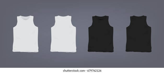 Set of realistic white and black unisex sleeveless t-shirt. Front and back view. Vector illustration collection on gray background.