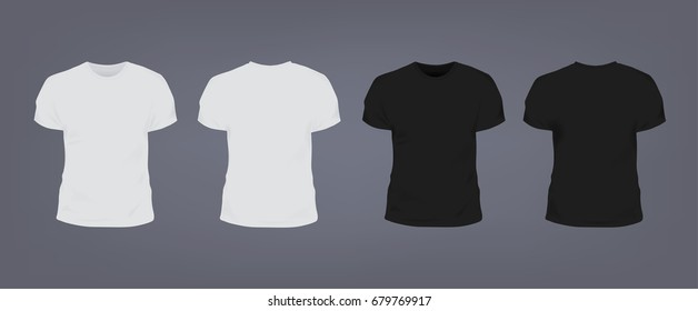 Set of realistic white and black unisex slim-fit t-shirt with round neckline. Front and back view. Vector illustration collection on gray background.