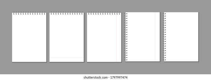 set of realistic white blank notepad sheets for notes isolated on transparent background. Blank clean spiral notebook on spring blank layout template, graphic element for your design